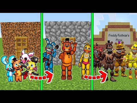 CICLO DE VIDA EVOLUÇÃO DA CASA DOS ANIMATRONICS no MINECRAFT!!! (FIVE NIGHTS AT FREDDY'S)
