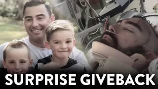 Surprise Giveback For Hero Dad Who Risked Everything To Save His Son's Life | Kyle & Jackie O