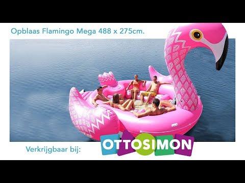 ZIEN: opblaasbare MEGA FLAMINGO! 488 X 275 cm