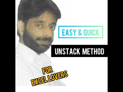 Easy & Quick Method to Unstack Data in Excel from One Column to Multiple Columns in Urdu / Hindi