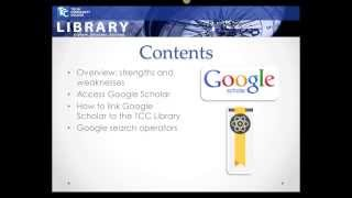 Google Scholar and TCC Library