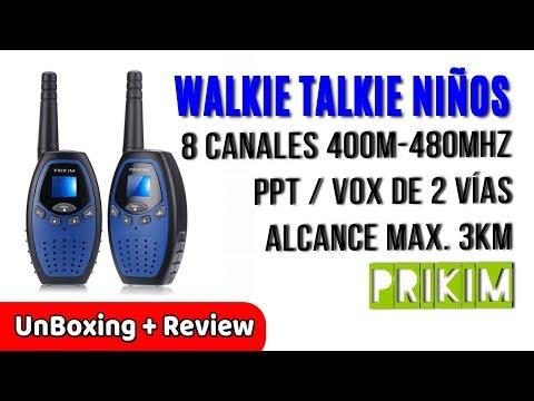 PRIKIM Walkie Talkies TK60 para Niños Radio 2 Vías 8 Canales 400M 480MHz | UnBoxing Review Español