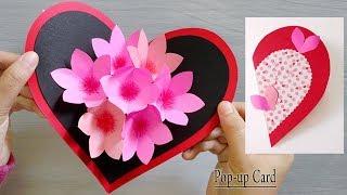 Paper Heart Flower Popup Card, Paper Crafts-Handmade Craft, Valentine Pop-up Card.
