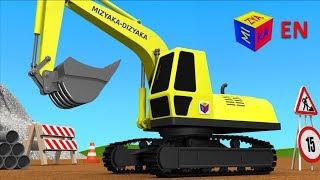 Trucks for children kids. Construction game: Crawler excavator