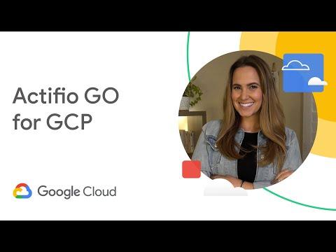 """Ein Bild einer Frau auf der rechten Seite mit """"Actifio GO for GCP"""" links"""