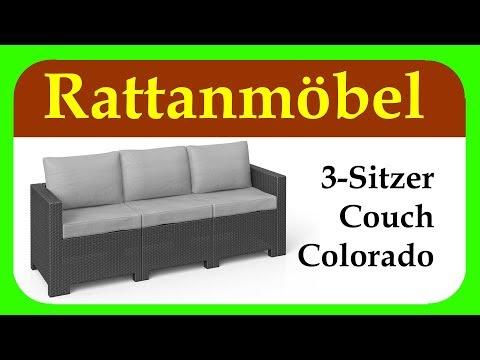 Rattanmöbel | Colorado 3-Sitzer Couch | günstiges Rattansofa für Garten, Balkon und Terrasse