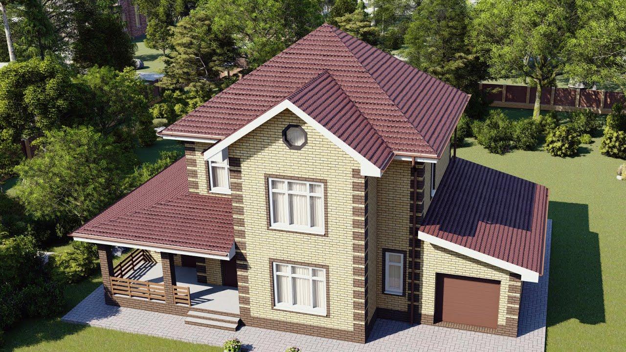 Проект двухэтажного дома 180 м2 с баней и террасой