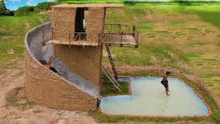 Build Big Swimming Pool & Three Story Mud House With Water Slide Around House (full)