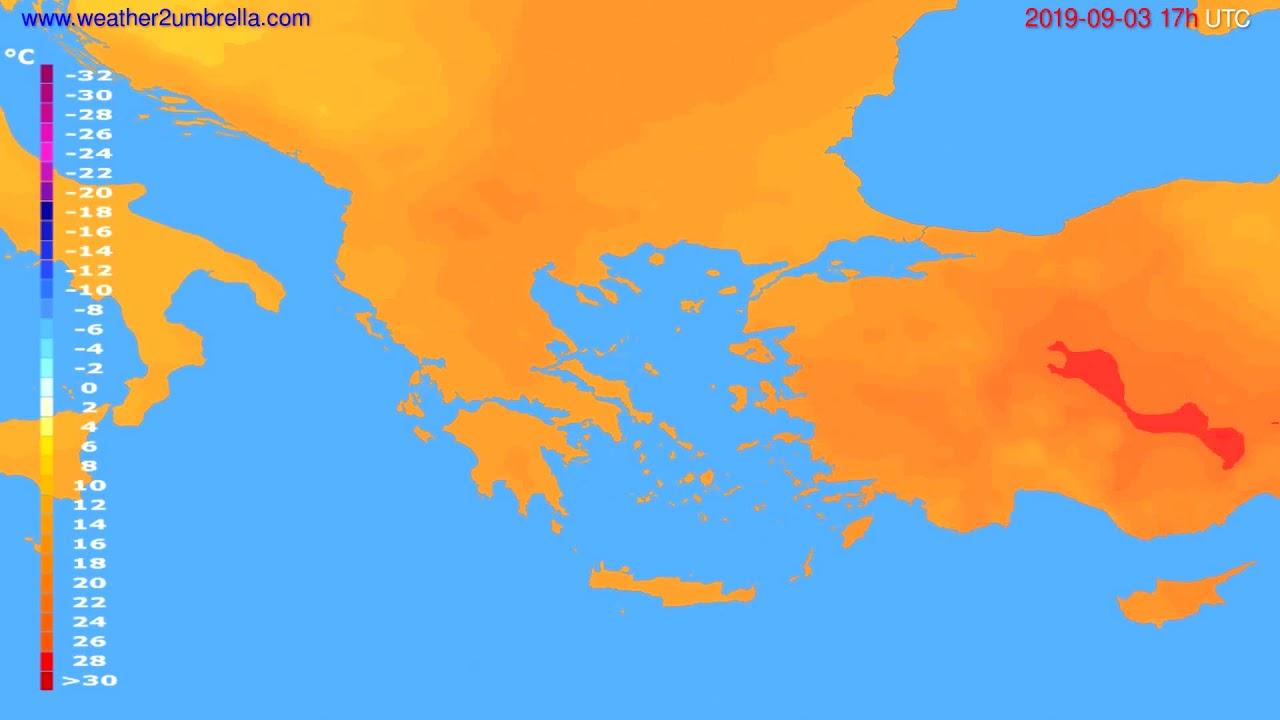 Temperature forecast Greece // modelrun: 00h UTC 2019-09-02