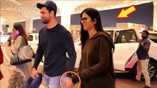 Katrina Kaif & BF Vicky Kaushal Holding HANDS And Walking TOGETHER Like CUTE Couple At Airport
