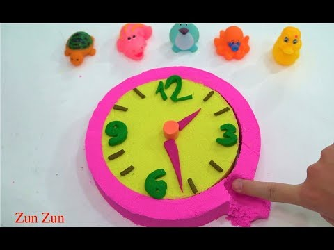 DIY How To Make Kinetic Sand Clock Learning Colors Pink Blue Green Red