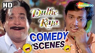 Best Comedy scenes from Dulhe Raja (HD) Govinda, Raveena Tandon, Kader Khan, Johnny Lever - Download this Video in MP3, M4A, WEBM, MP4, 3GP