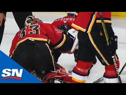 Flames' Noah Hanifin Makes Brave Play To Block Shot With Head