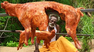 DUAL Grilled Goat with Cashewnuts GHEE Rice prepared by my daddy ARUMUGAM / Village food factory