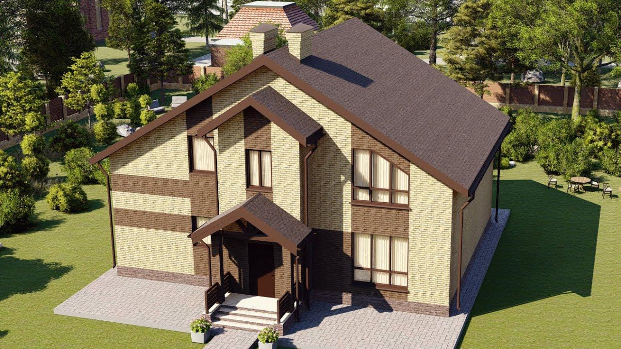 Проект мансардного дома из кирпича с балконом и террасой 188 м2