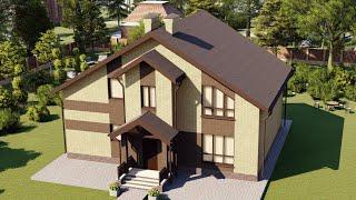 Проект дома 188-B, Площадь дома: 188 м2, Размер дома:  13,6x13,5 м