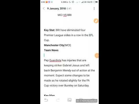MCI VS BRI!!! FOOTBALL TEAM WITH PROBABLE XI AND IMPORTANT NEWS***MUST WATCH***