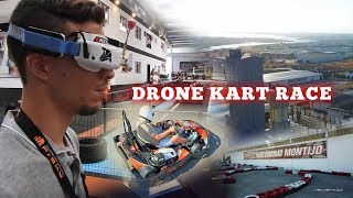 FPV Drone Kart Chases Race in Kartódromo of Montijo in Portugal