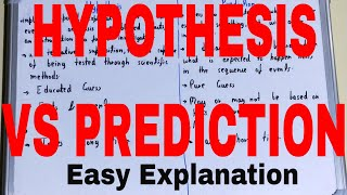 Hypothesis vs Prediction|Difference between hypothesis & prediction|Hypothesis prediction difference