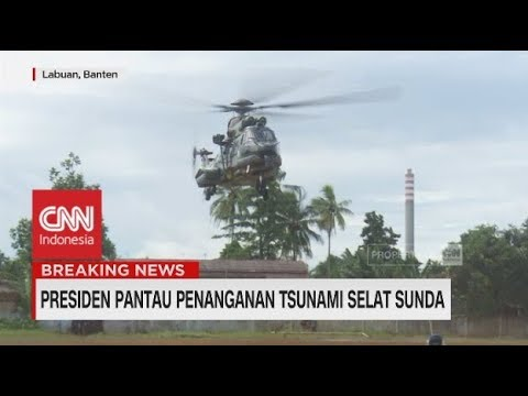 Naik Helikopter, Jokowi Pantau Tsunami Selat Sunda Banten