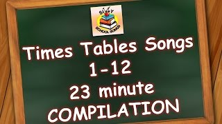 Times Tables Songs 1-12 for Kids   23 Minute Compilation from Silly School Songs!