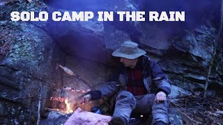 Solo Bushcraft Survival Shelter in Cold November Rain: Seeking Shelter and Cooking over Fire, Rock