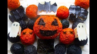 Crispy Soap Balls.Halloween theme. Satisfying soap boxes. Orange & Black