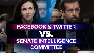 Facebook and Twitter testify at the Senate Intelligence Committee hearing