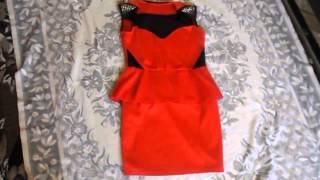 Aliexpress. Модные покупки. Красное платье с баской.