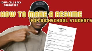 How To Make A Resume With No Job Experience In Highschool
