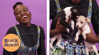 """""""Black Panther's"""" Lupita Nyong'o Plays With Puppies (While Answering Fan Questions)"""