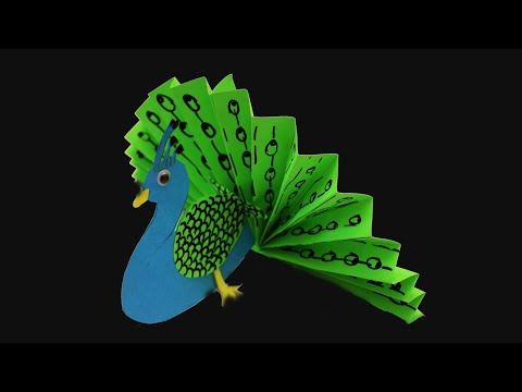DIY PAPER CRAFT PEACOCK/ORIGAMI PEACOCK, PAPER CRAFTS FOR KIDS & HOME DECORATION BEAUTIFUL PAPER ART