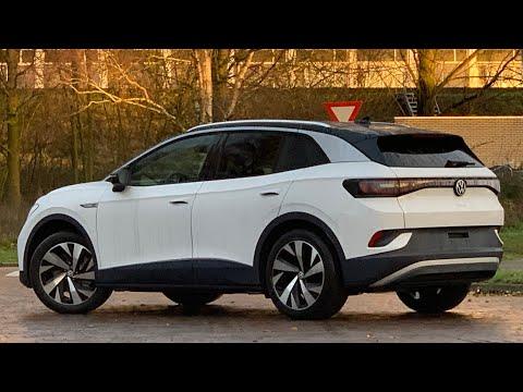 Volkswagen NEW ID4 First 2021 in 4K Gletscher White 20 inch Drammen walk arond & detail inside