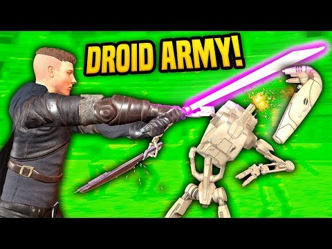 LIGHTSABER SLICES THROUGH BATTLE DROID ARMY - Blades and Sorcery VR Mods (Star Wars)