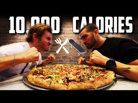 PRO SKATER & COMPETITIVE EATER VS. MEGA PIZZA (10,000+ CALORIES)