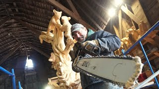 Learning From A Chainsaw Carving MASTER! (4K)