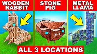 """""""VISIT A WOODEN RABBIT A STONE PIG and A METAL LLAMA"""" - ALL 3 LOCATIONS WEEK 6 CHALLENGES FORTNITE"""