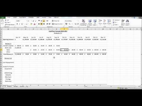 , title : 'How to Create a Cash Flow Forecast using Microsoft Excel - Basic Cashflow Forecast