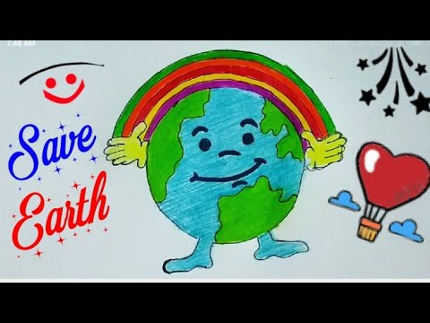 How to Draw Easy Cartoon SAVE Earth/SAVE ENVIRONMENT Drawing Ideas for kids/Save Fuel Save Nature