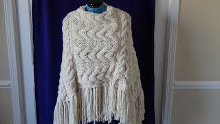 Knitted Cable Tassel Poncho