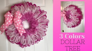 Dollar Tree 3 Colors Of 6 Inch Deco Mesh Wreath Tutorial Easy & Inexpensive