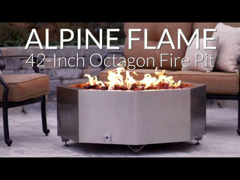 Alpine Flame 42-Inch Octagon Fire Pit - Stainless Steel