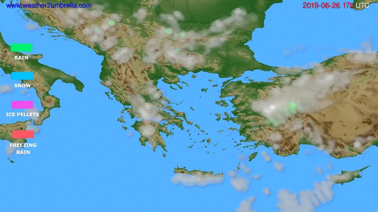 Precipitation forecast Greece // modelrun: 00h UTC 2019-06-25