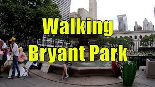 ⁴ᴷ Walking Tour of Bryant Park, Manhattan, NYC (most densely occupied urban park in the world)