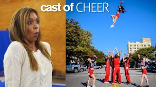 GYMNASTS vs COACH Stunts and Acrobatics Challenge ft. Cast of Netflix Cheer