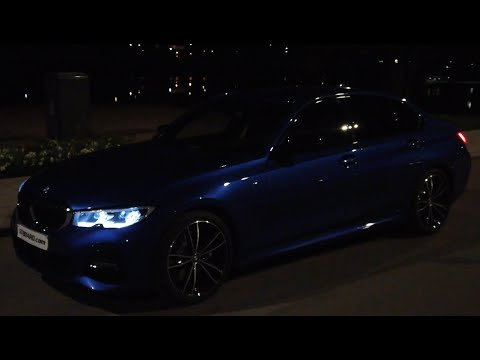 NIGHT G20 Portimao Blue BMW 330i M Aerodynamic LIGHTS ON Double spoke M 791 wheels [4k 60 fps]