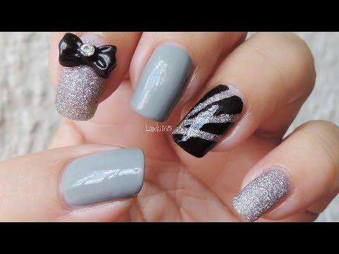 Nail Art - Black Tie Not Optional - Decoracion de uñas - Linda165