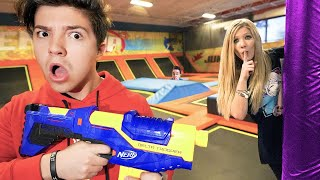 Extreme NERF Hide and Seek in a Trampoline Park!