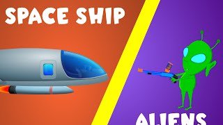 Space Ship and Aliens |  Space Wars | Vehicle Rhymes for Children | Spacecraft for Kids