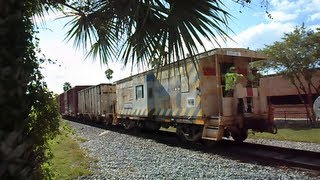 CSX Box Freight Train Going Backwards In Lackland,Florida